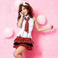 Naughty Student Sleeveless Shirt Red Check Pattern Skirt School Girl Uniform