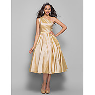 Homecoming Prom/Homecoming/Cocktail Party Dress - Champagne Plus Sizes A-line/Princess One Shoulder Tea-length Taffeta