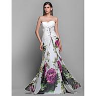 Prom/Military Ball/Formal Evening Dress - Print Sheath/Column Strapless/Sweetheart Sweep/Brush Train Chiffon