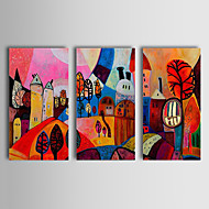 Hand-Painted Abstract / Landscape / Abstract LandscapeTraditional / Classic Three Panels Canvas Oil Painting For Home Decoration