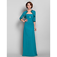 Sheath/Column Plus Sizes / Petite Mother of the Bride Dress - Jade Floor-length 3/4 Length Sleeve Chiffon