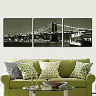 Stretched Canvas Art Landscape Ctiy Bridge Set of 3