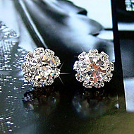 Stud Earrings Basic Simple Style Fashion Crystal Zircon Cubic Zirconia Imitation Diamond Flower Sunflower Jewelry For Daily Wedding Party