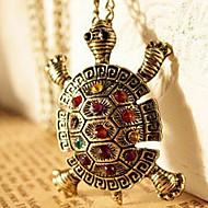 intarsiato di diamanti d'epoca carino maglione catena collana n64 tartaruga delle donne