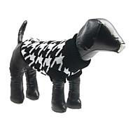 Hunde Pullover Schwarz Hundekleidung Winter Hahnentrittmuster