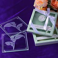 """""""Calas"""" Posavasos de cristal esmerilado en caja de regalo Floral-Inspired"""