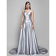 Formal Evening Dress - Silver Plus Sizes A-line V-neck Sweep/Brush Train Satin Chiffon
