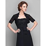 여성 숄 볼레로 짧은 소매 레이스 블랙 웨딩 / 파티/이브닝 넓은 칼라 39cm 구슬장식 / 레이스 오픈 프론트