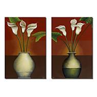 Stretched Art su tela Natura morta petali bianchi di Pablo Esteban Set di 2