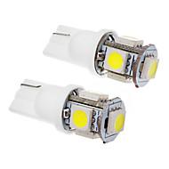 2 Pz T10 1.5W 5x5050SMD 100-120LM 6000K Cool White LED Light Bulb (12V)