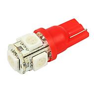 Merdia T10 0.18x5W Rojo 5-SMD 5050 luz de la lectura del coche LED (Par / DC 12V)-LEDD004T10A5S2
