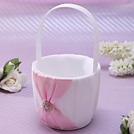 Flower Basket In Pink Satin With Rhinestones And Sash Flower Girl Basket Coral Wedding