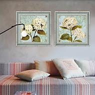 Floral/Botanical Framed Canvas / Framed Set Wall Art,PVC Grey No Mat With Frame Wall Art