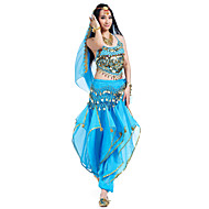 Belly Dance Outfits Women's Performance Chiffon Beading / Coins / Sequins 4 Pieces Sleeveless Top / Pants / Headpieces / Hip Scarf