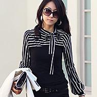 Women's Bow Neck Stripes Print Long Sleeves T-shirt