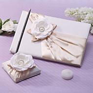 elegant bryllup gjestebok og penn sett med blomst og perle tegn i boken