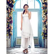 Lanting Sheath/Column Plus Sizes Wedding Dress - Ivory Asymmetrical V-neck Chiffon