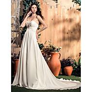 Lanting Bride A-line Petite / Plus Sizes Wedding Dress-Court Train Sweetheart Chiffon