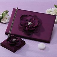 Lalic bryllup gjestebok og penn sett med blomst skilt i boken