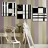 Stretched Canvas Art Abstract Black and White Squares Set of 3