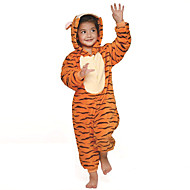 Kigurumi Pajamas Tiger Leotard/Onesie Halloween Animal Sleepwear Orange Patchwork Flannel Kigurumi Kid Halloween