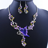 Amazing Butterfly Alloy with Acrylic Necklace,Earrings Jewelry Set(More Colors)