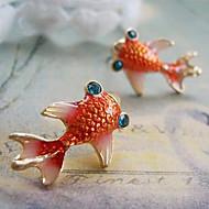 Love Fashion European And American Retro Cute Little Goldfish Red Glaze Diamond Earrings E108