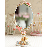 "11.25 ""H Floral Retro Polyresin Tabletop Mirror"