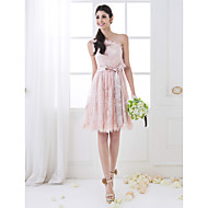 Homecoming Bridesmaid Dress Knee Length Lace A Line One Shoulder Dress (710809)
