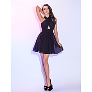 TS Couture® Cocktail Party / Homecoming / Holiday Dress - Short Plus Size / Petite A-line Halter Short / Mini Chiffon with Draping / Ruching