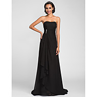 Lanting Sweep/Brush Train Chiffon Bridesmaid Dress - Black Plus Sizes / Petite A-line Strapless