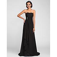 Bridesmaid Dress Sweep Brush Chiffon Sheath Column Strapless Dress (663661)