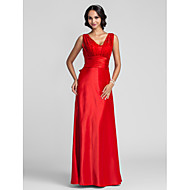 Prom / Formal Evening / Military Ball Dress - Plus Size / Petite Sheath/Column Straps Floor-length Satin Chiffon