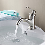 Contemporary Centerset Ceramic Valve Single Handle One Hole with Nickel Brushed Bathroom Sink Faucet