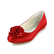 Women's Spring / Summer / Fall Ballerina Satin / Stretch Satin Wedding Flat HeelBlack / Blue / Pink / Purple / Red / Ivory / White /