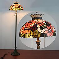 Krondesignad golvlampa i Tiffanystil med två lampor