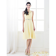 Knee-length Chiffon Bridesmaid Dress-Plus Size / Petite A-line / Princess High Neck