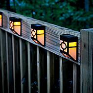 2-LED Warm Yellow Solar Powered Wall Mount Lantern Light Deck Lamp