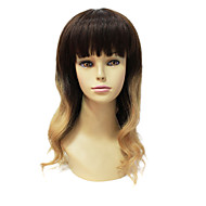 Sexy Mono Topp 100% Menneskelig Remy Hair Short Long Wavy Gradient Color Hair Wig