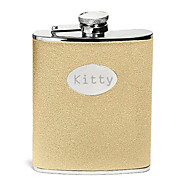 Gift Groomsman Personalized Gold Leatherette 8-oz Flask