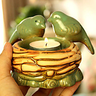 """5""""H Country Style Green Bird Votive Ceramic Candle Holder"""