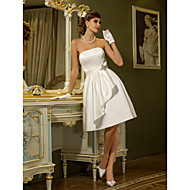 A-line Plus Sizes Wedding Dress - Ivory Knee-length Strapless Satin