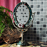 """14""""Neoclassical Style Oval Tabletop Metal Mirror(Colored Drawing)"""