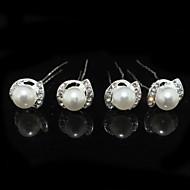 vier stukken legering huwelijk bruids haarspelden met steentjes en imitatie parels
