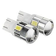 T10 149 W5W 1W 6x5730SMD 80LM 6000K fredda lampadina LED bianco per l'automobile (12-14V, 2pcs)