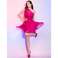 TS Couture Cocktail Party Homecoming Holiday Dress - Short A-line Princess One Shoulder Short / Mini Chiffon withCrystal Detailing