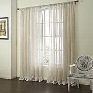 Neoclassical Two Panels Stripe Beige Bedroom Linen Sheer Curtains Shades