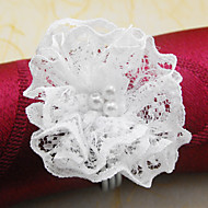 Dentelle de perle de fleur de mariage Serviette Set de 12, perle de lacet Dia 4.5cm