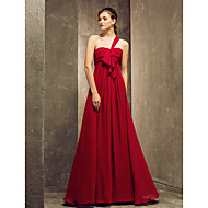 Floor-length Chiffon Bridesmaid Dress - Burgundy Plus Sizes / Petite Sheath/Column One Shoulder