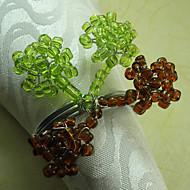 Perles de verre de mariage de fleur de Serviette Set de 12, Dia 4.5cm
